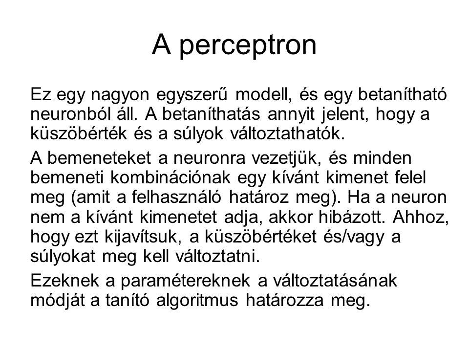 A perceptron Ez egy nagyon egyszerű modell, és egy betanítható neuronból áll. A betaníthatás annyit jelent, hogy a küszöbérték és a súlyok változtatha