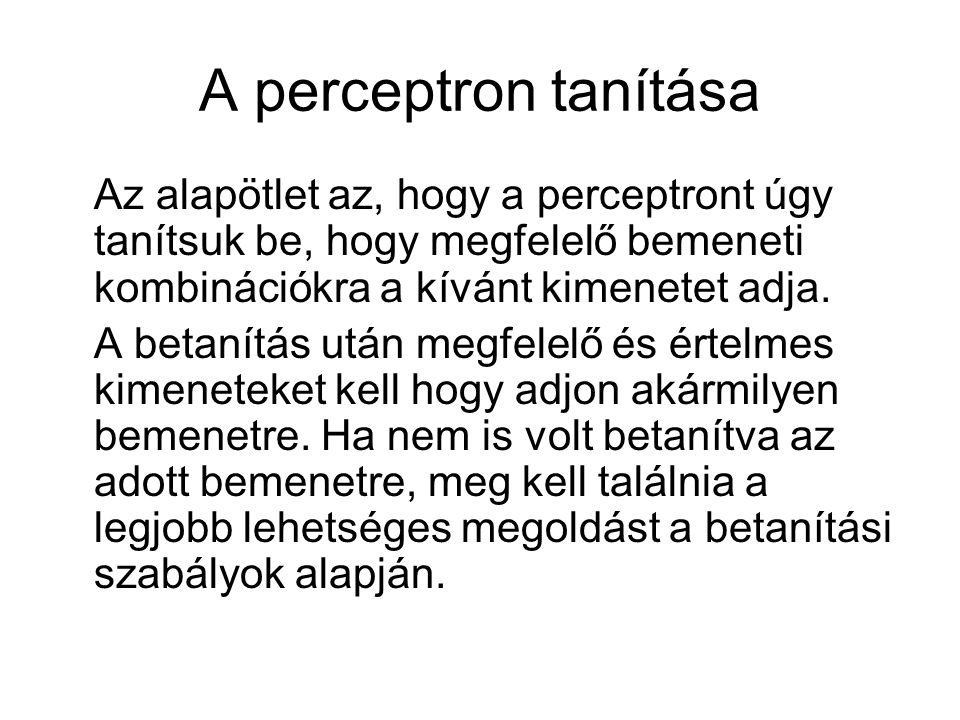 A perceptron tanítása Az alapötlet az, hogy a perceptront úgy tanítsuk be, hogy megfelelő bemeneti kombinációkra a kívánt kimenetet adja. A betanítás