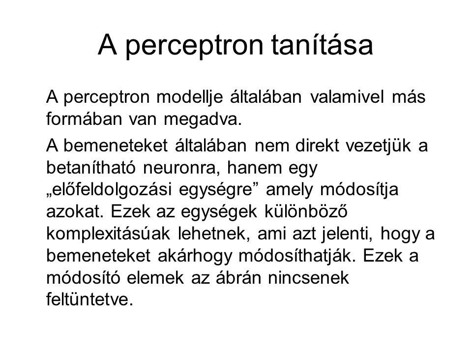A perceptron tanítása A perceptron modellje általában valamivel más formában van megadva. A bemeneteket általában nem direkt vezetjük a betanítható ne