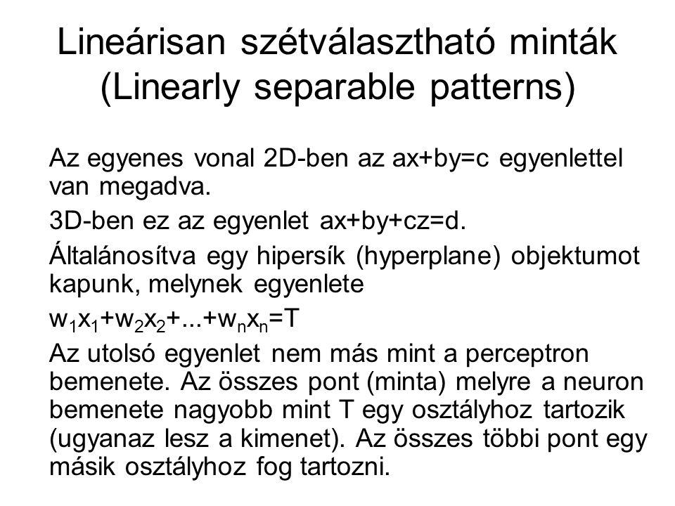 Lineárisan szétválasztható minták (Linearly separable patterns) Az egyenes vonal 2D-ben az ax+by=c egyenlettel van megadva. 3D-ben ez az egyenlet ax+b