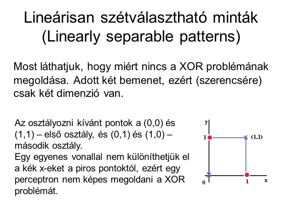 Lineárisan szétválasztható minták (Linearly separable patterns) Most láthatjuk, hogy miért nincs a XOR problémának megoldása. Adott két bemenet, ezért