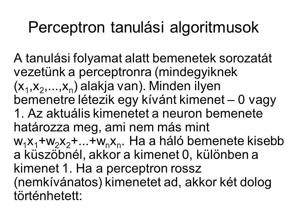 Perceptron tanulási algoritmusok A tanulási folyamat alatt bemenetek sorozatát vezetünk a perceptronra (mindegyiknek (x 1,x 2,...,x n ) alakja van).
