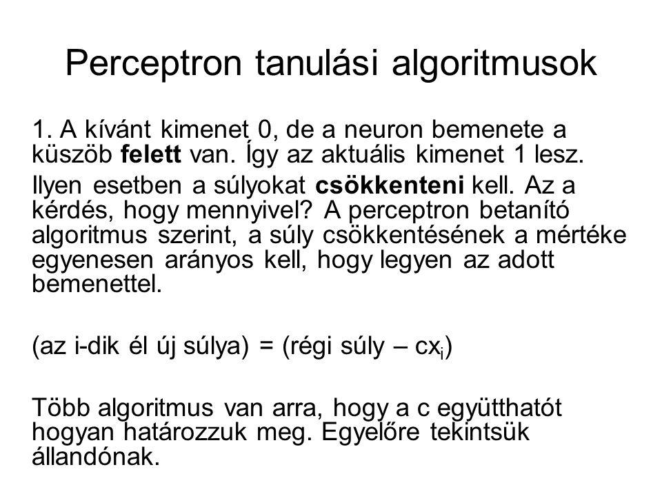 Perceptron tanulási algoritmusok 1. A kívánt kimenet 0, de a neuron bemenete a küszöb felett van. Így az aktuális kimenet 1 lesz. Ilyen esetben a súly