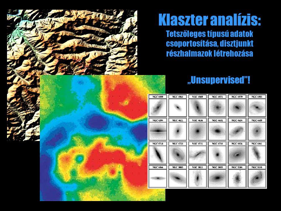 """Klaszter analízis: Tetszőleges típusú adatok csoportosítása, disztjunkt részhalmazok létrehozása """"Unsupervised""""!"""