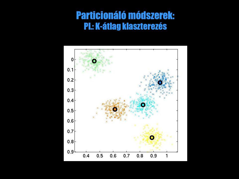 Particionáló módszerek: Pl.: K-átlag klaszterezés