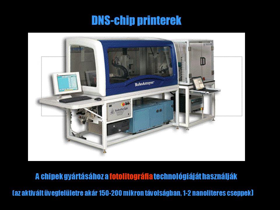 DNS-chip printerek A chipek gyártásához a fotolitográfia technológiáját használják (az aktivált üvegfelületre akár 150-200 mikron távolságban, 1-2 nanoliteres cseppek )