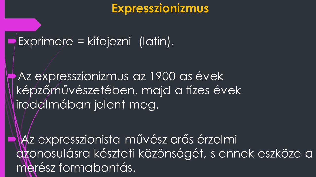 Expresszionizmus  Exprimere = kifejezni (latin).  Az expresszionizmus az 1900-as évek képzőművészetében, majd a tízes évek irodalmában jelent meg. 