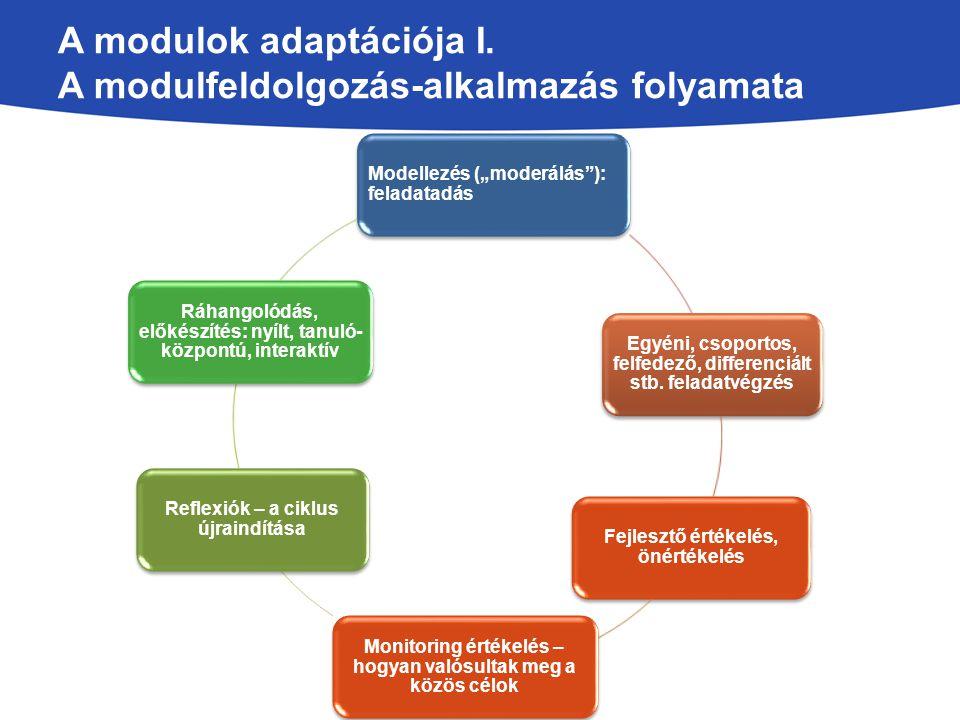 A modulok adaptációja I. A modulfeldolgozás-alkalmazás folyamata
