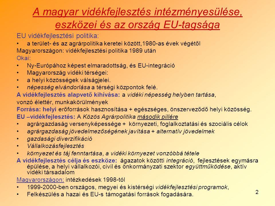 2 A magyar vidékfejlesztés intézményesülése, eszközei és az ország EU-tagsága EU vidékfejlesztési politika: a terület- és az agrárpolitika keretei között,1980-as évek végétől Magyarországon: vidékfejlesztési politika 1989 után Okai: Ny-Európához képest elmaradottság, és EU-integráció Magyarország vidéki térségei: a helyi közösségek válságjelei.
