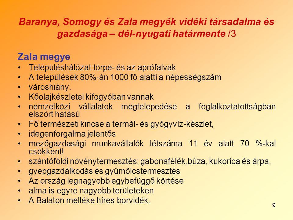 9 Baranya, Somogy és Zala megyék vidéki társadalma és gazdasága – dél-nyugati határmente /3 Zala megye Településhálózat:törpe- és az aprófalvak A települések 80%-án 1000 fő alatti a népességszám városhiány.