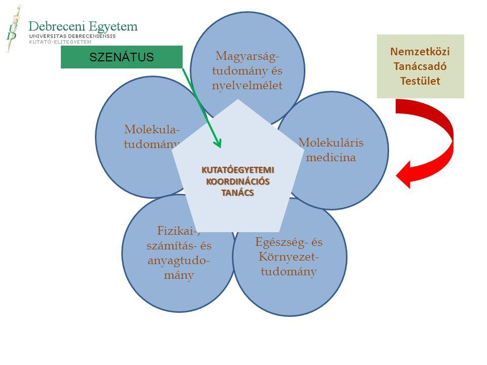 Molekula- tudomány Fizikai-, számítás- és anyagtudo- mány Egészség- és Környezet- tudomány Molekuláris medicina Magyarság- tudomány és nyelvelmélet Ne