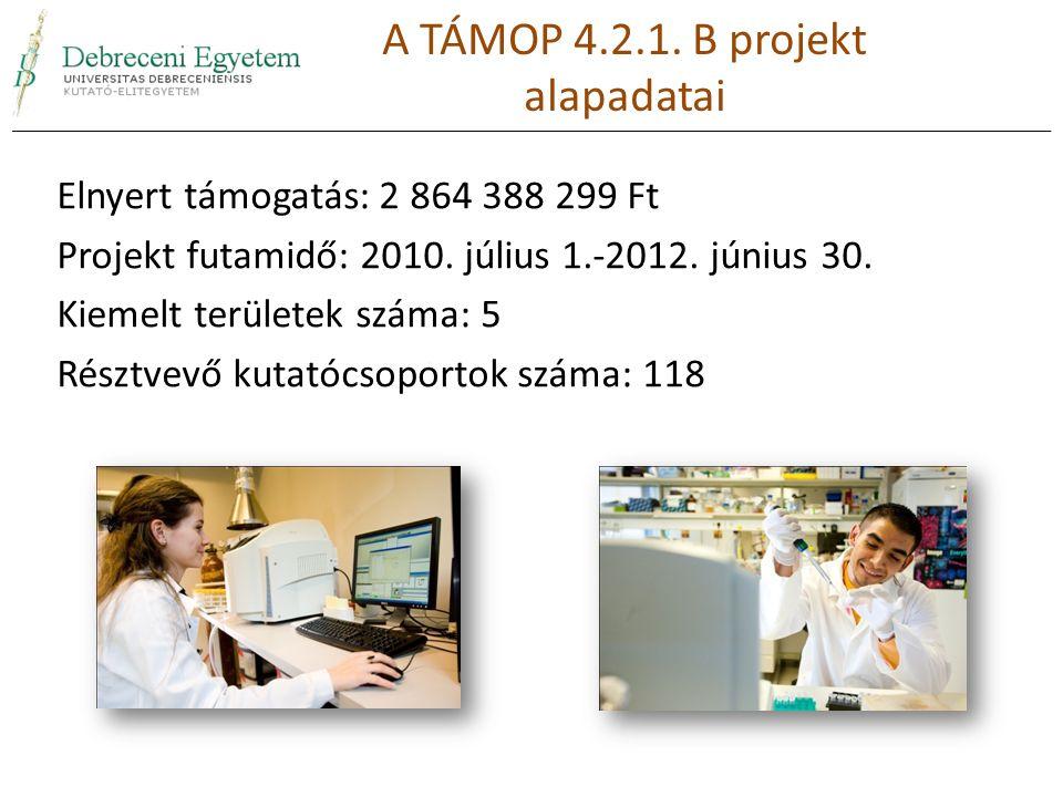 Elnyert támogatás: 2 864 388 299 Ft Projekt futamidő: 2010. július 1.-2012. június 30. Kiemelt területek száma: 5 Résztvevő kutatócsoportok száma: 118