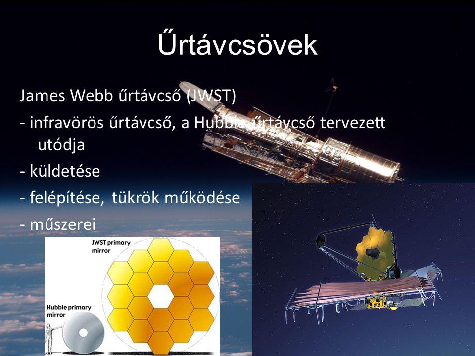 Űrtávcsövek James Webb űrtávcső (JWST) - infravörös űrtávcső, a Hubble űrtávcső tervezett utódja - küldetése - felépítése, tükrök működése - műszerei
