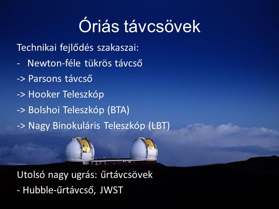 Óriás távcsövek Technikai fejlődés szakaszai: -Newton-féle tükrös távcső -> Parsons távcső -> Hooker Teleszkóp -> Bolshoi Teleszkóp (BTA) -> Nagy Bino