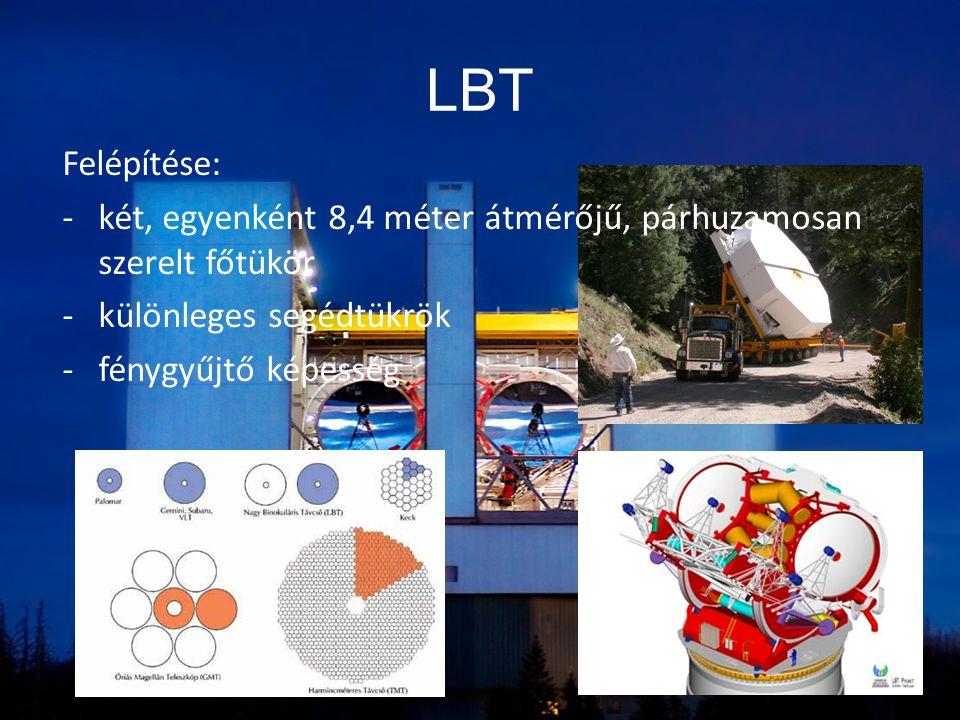 LBT Felépítése: -két, egyenként 8,4 méter átmérőjű, párhuzamosan szerelt főtükör -különleges segédtükrök -fénygyűjtő képesség