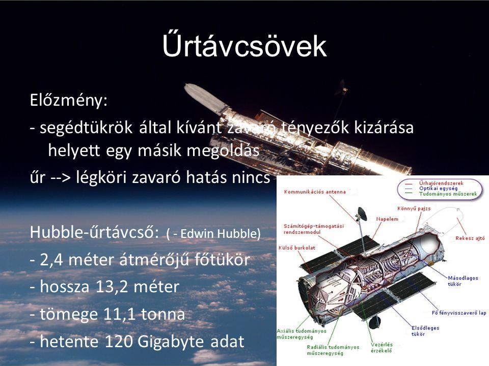 Űrtávcsövek Előzmény: - segédtükrök által kívánt zavaró tényezők kizárása helyett egy másik megoldás űr --> légköri zavaró hatás nincs Hubble-űrtávcső