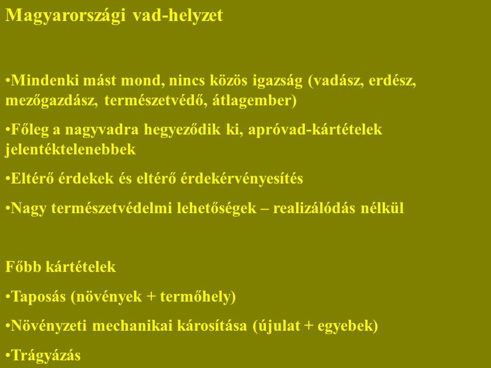 Magyarországi vad-helyzet Mindenki mást mond, nincs közös igazság (vadász, erdész, mezőgazdász, természetvédő, átlagember) Főleg a nagyvadra hegyeződik ki, apróvad-kártételek jelentéktelenebbek Eltérő érdekek és eltérő érdekérvényesítés Nagy természetvédelmi lehetőségek – realizálódás nélkül Főbb kártételek Taposás (növények + termőhely) Növényzeti mechanikai károsítása (újulat + egyebek) Trágyázás