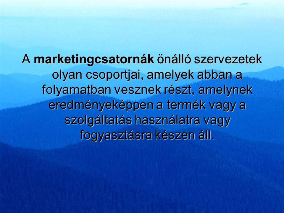 A marketingcsatornák önálló szervezetek olyan csoportjai, amelyek abban a folyamatban vesznek részt, amelynek eredményeképpen a termék vagy a szolgáltatás használatra vagy fogyasztásra készen áll.