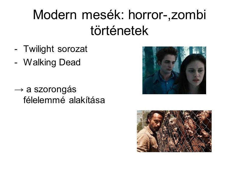 Modern mesék: horror-,zombi történetek -Twilight sorozat -Walking Dead → a szorongás félelemmé alakítása