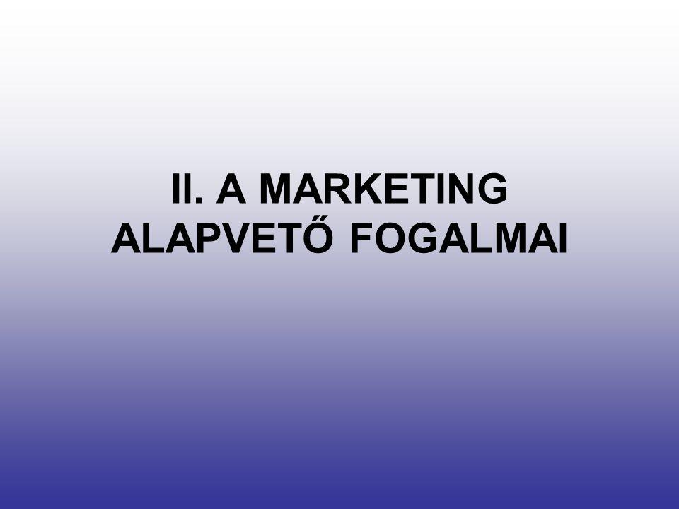 A marketing fogalma A marketing társadalmi és vezetési lépések láncolata, melynek során az egyének és csoportok termékeket és értékeket alkotnak, s cserélnek ki egymás között, mialatt kielégítik szükségleteiket és igényeiket.