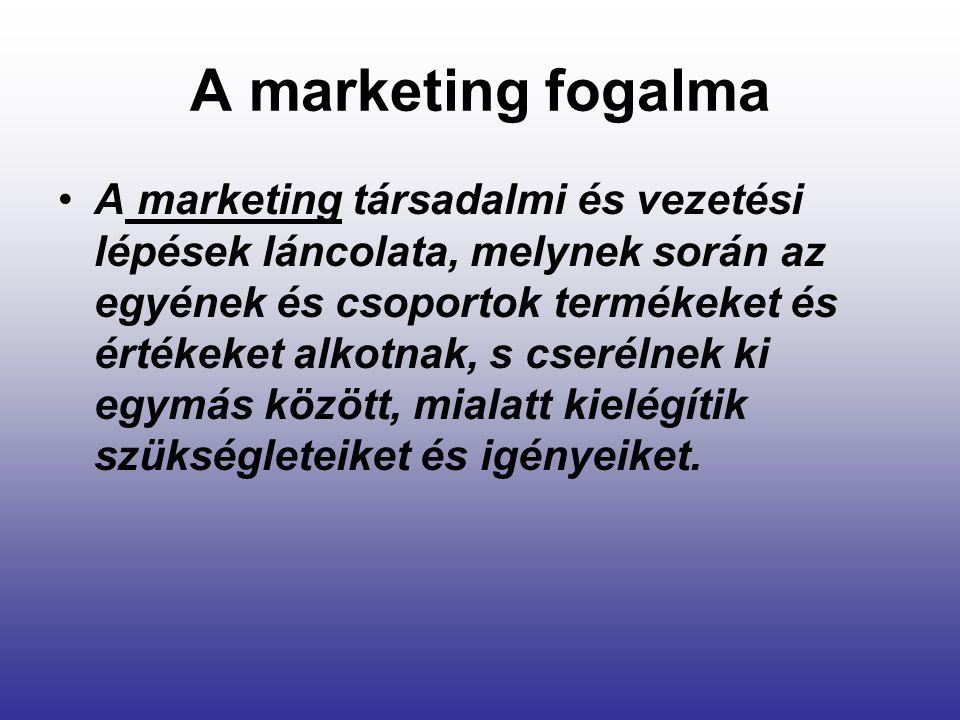 A marketing fogalma A marketing társadalmi és vezetési lépések láncolata, melynek során az egyének és csoportok termékeket és értékeket alkotnak, s cs