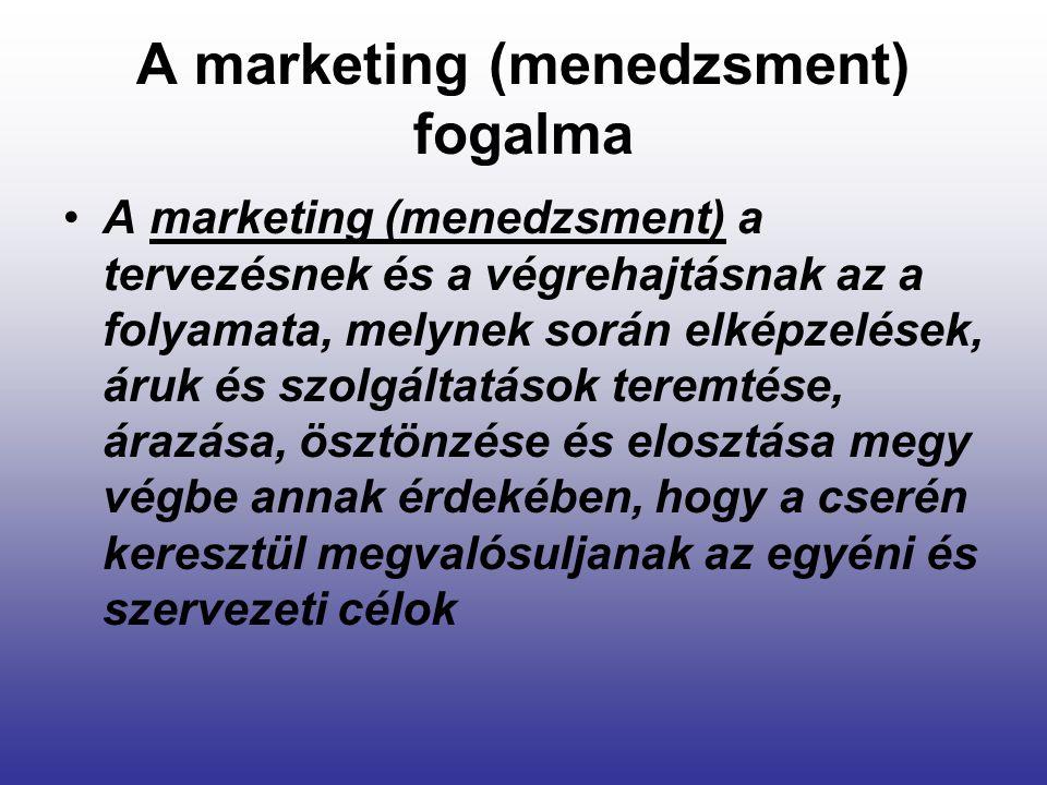 A marketing (menedzsment) fogalma A marketing (menedzsment) a tervezésnek és a végrehajtásnak az a folyamata, melynek során elképzelések, áruk és szol