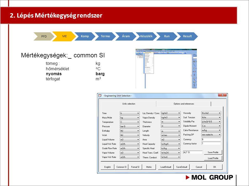 2. LépésMértékegység rendszer PFD MEKompTermoÁramKészülékRunResult Mértékegységek:_ common SI tömeg : kg hőmérséklet o C nyomásbarg térfogatm 3