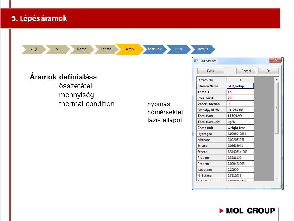 5. Lépés áramok Áramok definiálása: összetétel mennyiség thermal condition nyomás hőmérséklet fázis állapot PFD MEKompTermoÁramKészülékRunResult