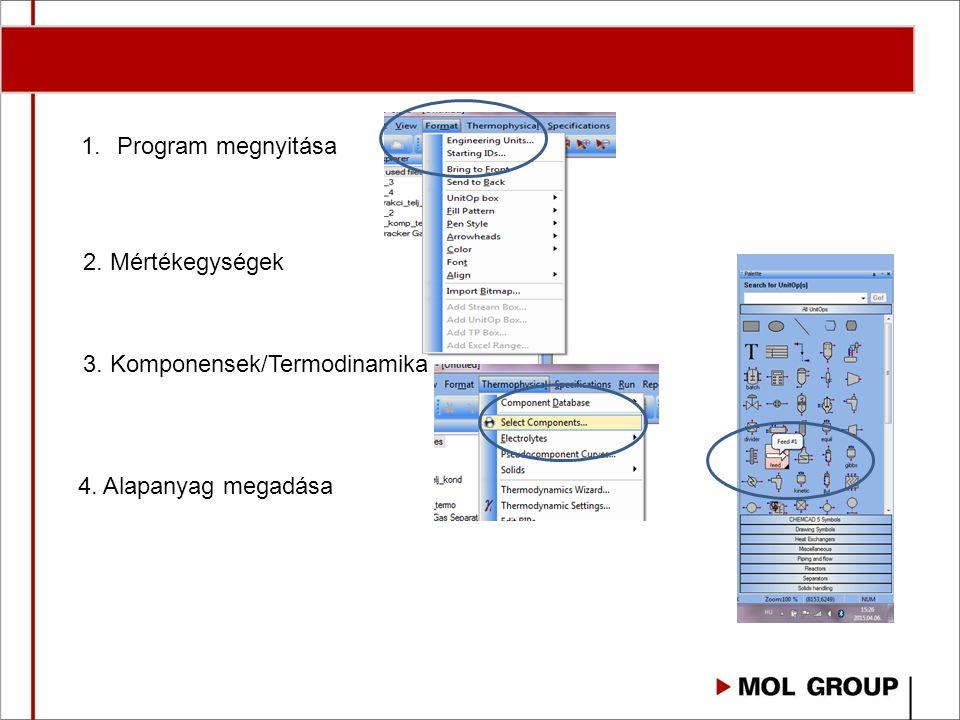 1.Program megnyitása 2. Mértékegységek 3. Komponensek/Termodinamika 4. Alapanyag megadása