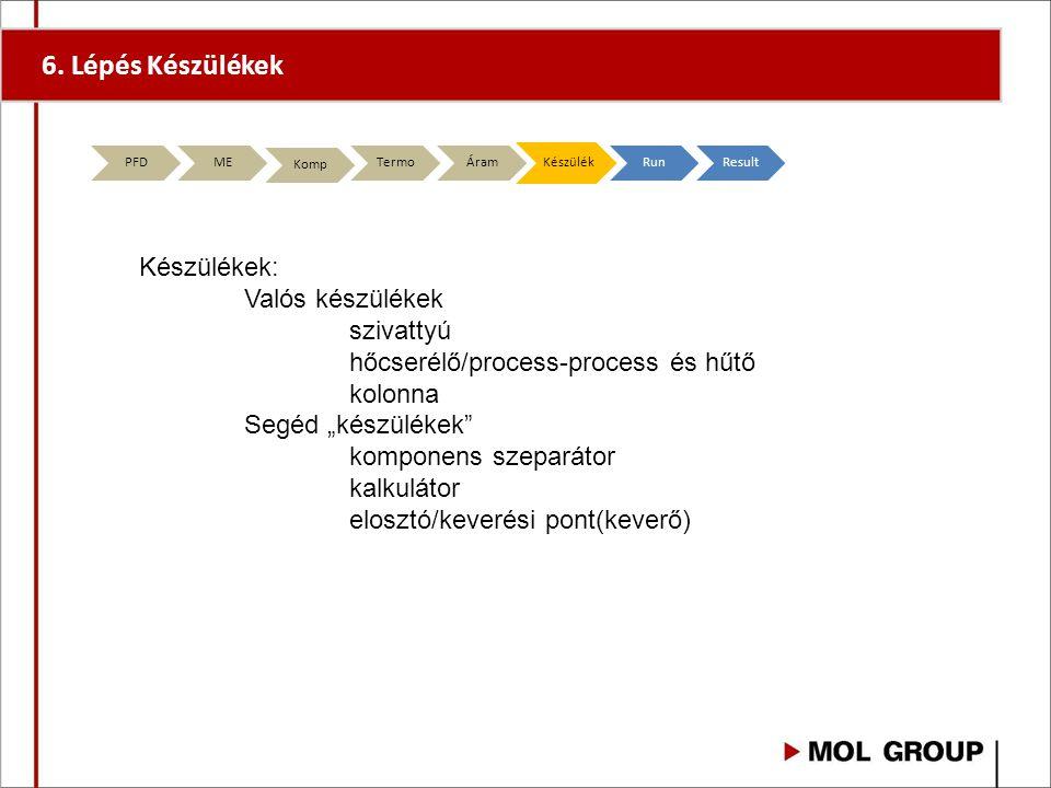 """6. Lépés Készülékek PFD ME Komp TermoÁramKészülékRunResult Készülékek: Valós készülékek szivattyú hőcserélő/process-process és hűtő kolonna Segéd """"kés"""