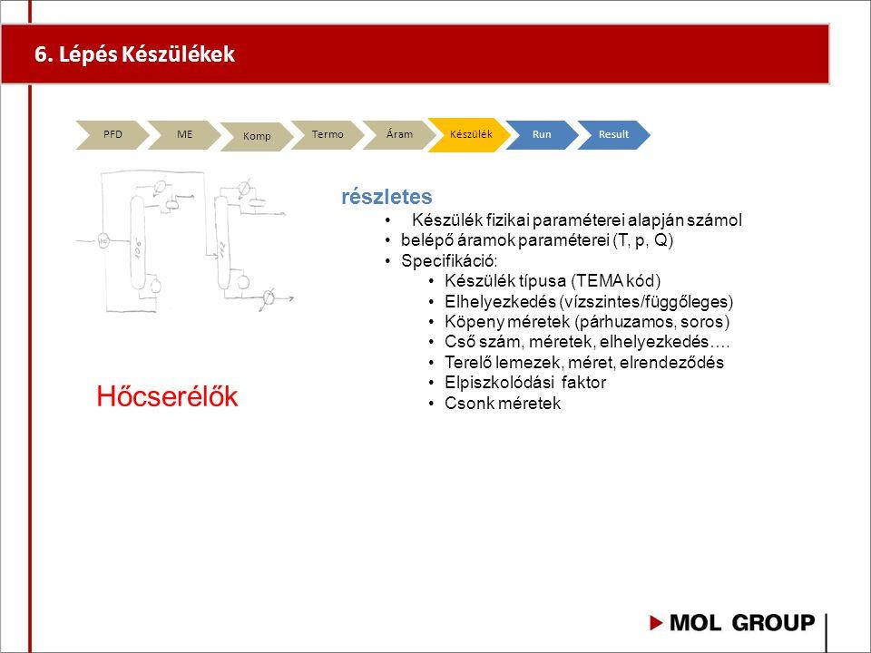 6. Lépés Készülékek PFD ME Komp TermoÁramKészülékRunResult részletes Készülék fizikai paraméterei alapján számol belépő áramok paraméterei (T, p, Q) S