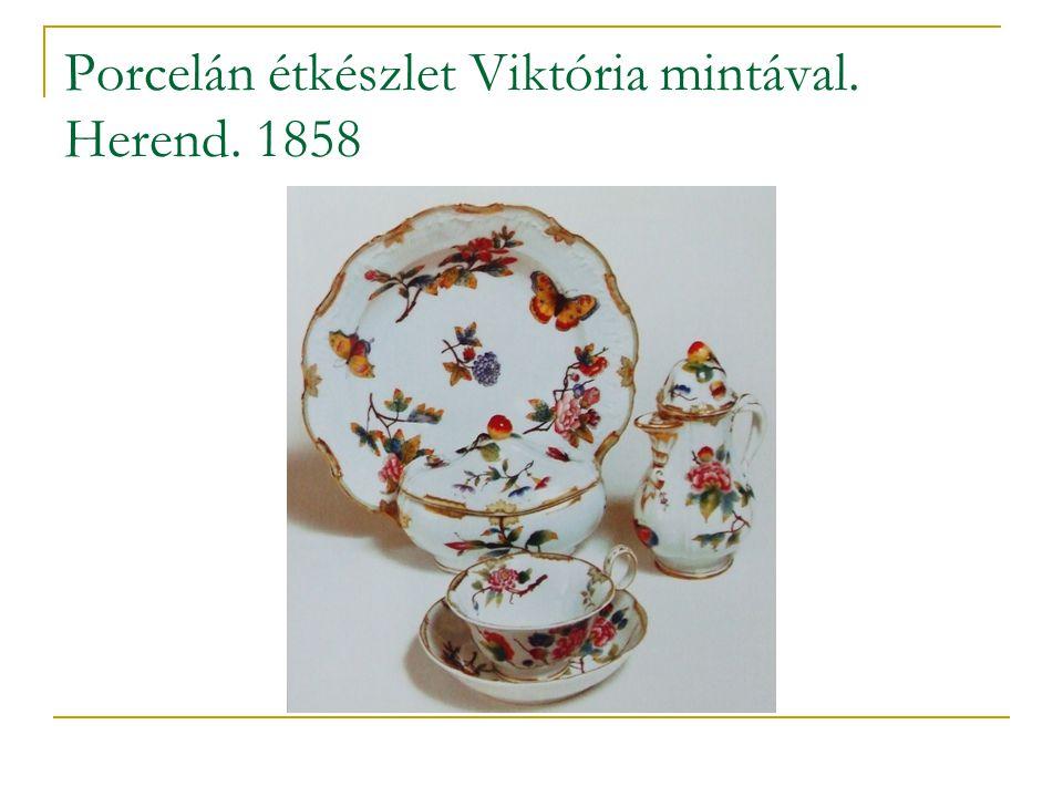 Porcelán étkészlet Viktória mintával. Herend. 1858