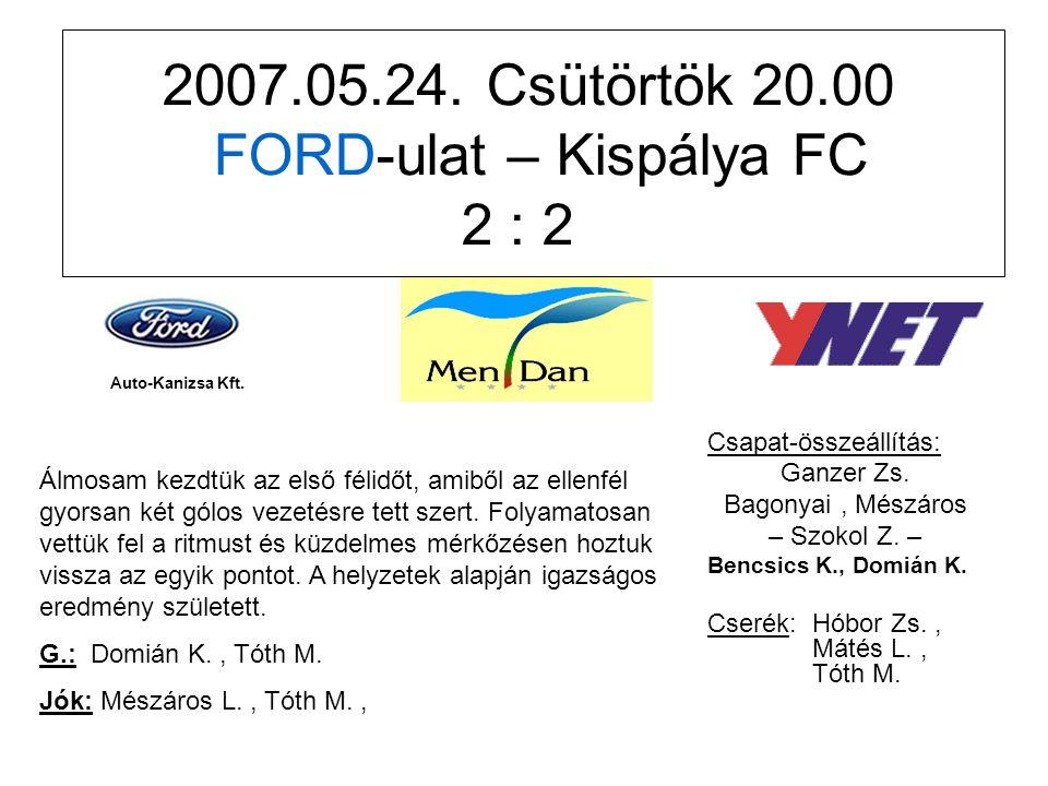2007.05.24. Csütörtök 20.00 FORD-ulat – Kispálya FC 2 : 2 Csapat-összeállítás: Ganzer Zs.