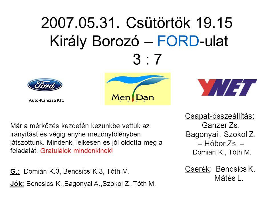 2007.05.31. Csütörtök 19.15 Király Borozó – FORD-ulat 3 : 7 Csapat-összeállítás: Ganzer Zs.