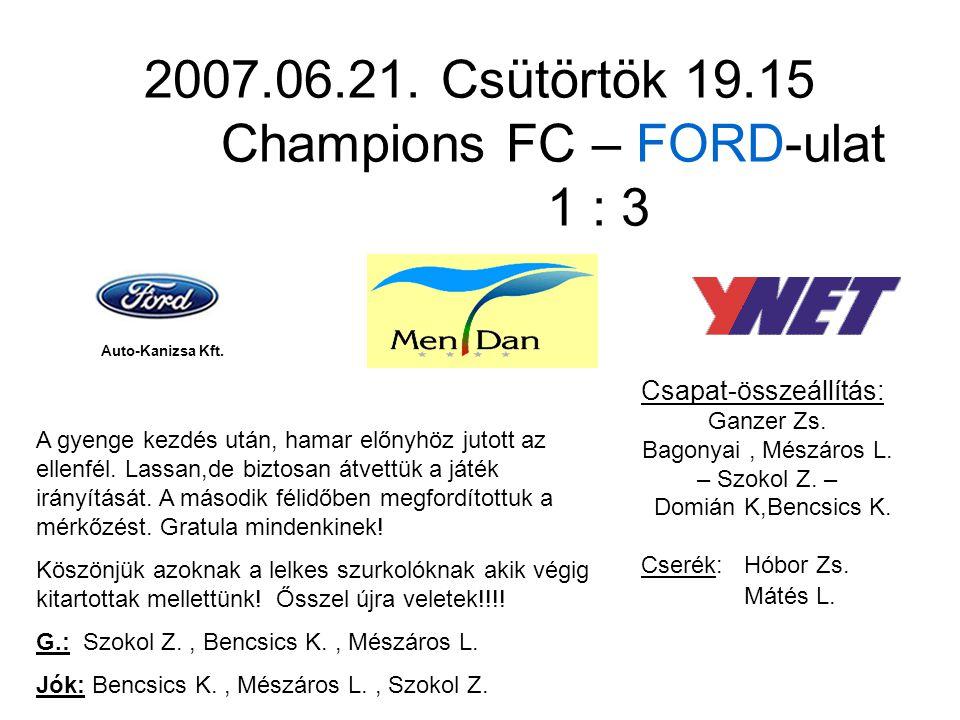 2007.06.21. Csütörtök 19.15 Champions FC – FORD-ulat 1 : 3 Csapat-összeállítás: Ganzer Zs.