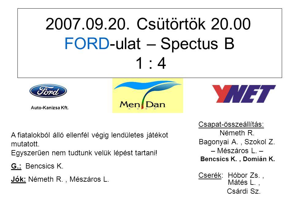 2007.09.20. Csütörtök 20.00 FORD-ulat – Spectus B 1 : 4 Csapat-összeállítás: Németh R.