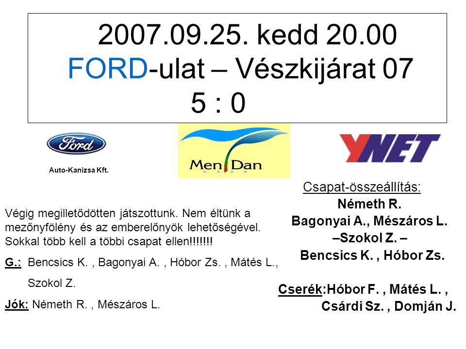 2007.09.25. kedd 20.00 FORD-ulat – Vészkijárat 07 5 : 0 Csapat-összeállítás: Németh R.