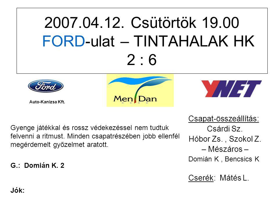 2007.04.19.Csütörtök 18.30 TIMBERLAND – FORD-ulat 1 : 3 Csapat-összeállítás: Németh R.