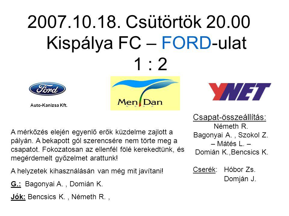 2007.10.18. Csütörtök 20.00 Kispálya FC – FORD-ulat 1 : 2 Csapat-összeállítás: Németh R.
