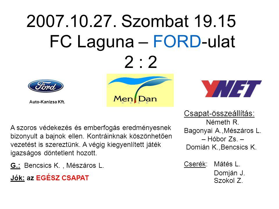 2007.10.27. Szombat 19.15 FC Laguna – FORD-ulat 2 : 2 Csapat-összeállítás: Németh R.