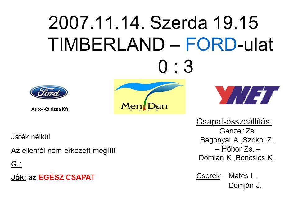 2007.11.14. Szerda 19.15 TIMBERLAND – FORD-ulat 0 : 3 Csapat-összeállítás: Ganzer Zs.