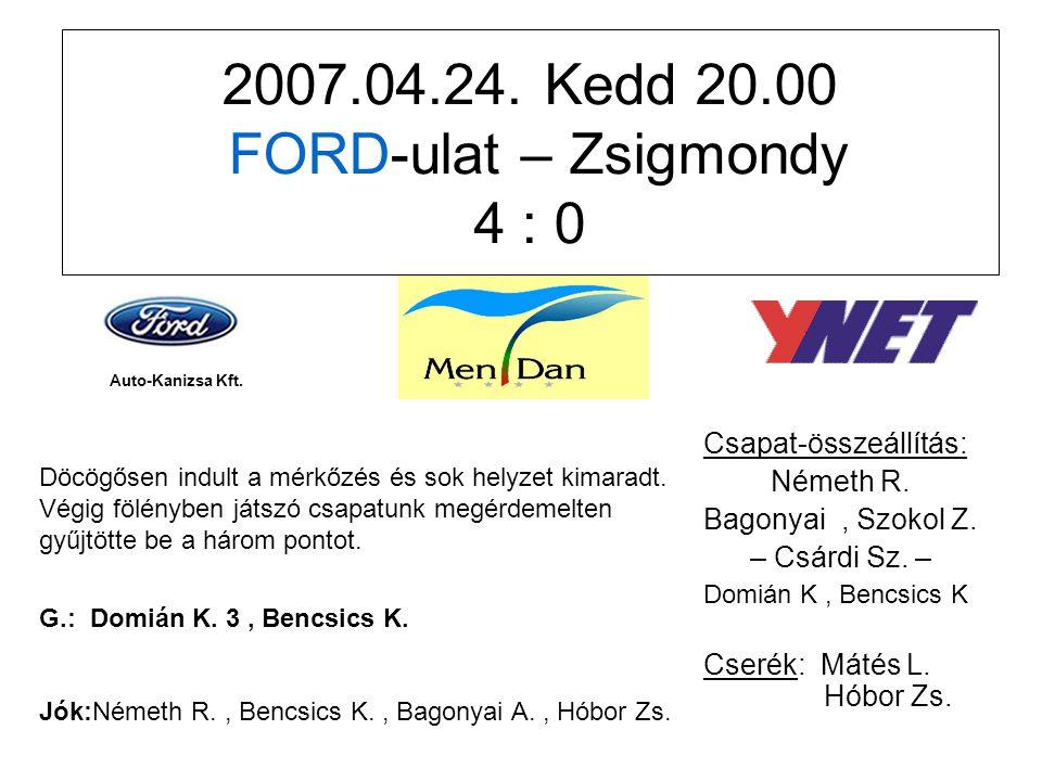 2007.04.24. Kedd 20.00 FORD-ulat – Zsigmondy 4 : 0 Csapat-összeállítás: Németh R.