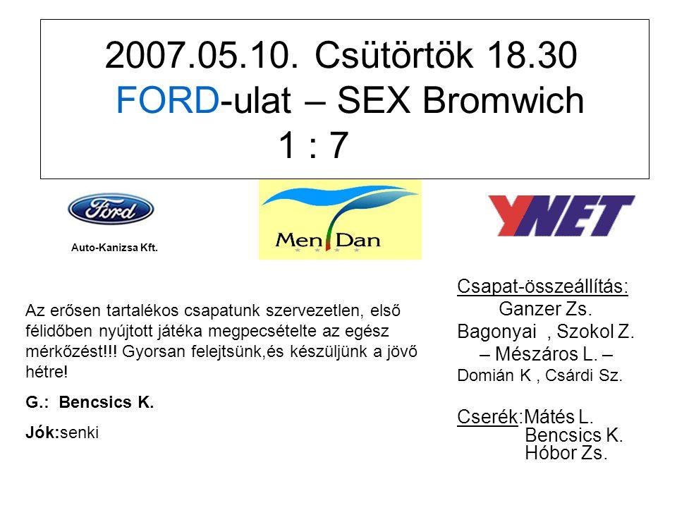 2007.05.10. Csütörtök 18.30 FORD-ulat – SEX Bromwich 1 : 7 Csapat-összeállítás: Ganzer Zs.