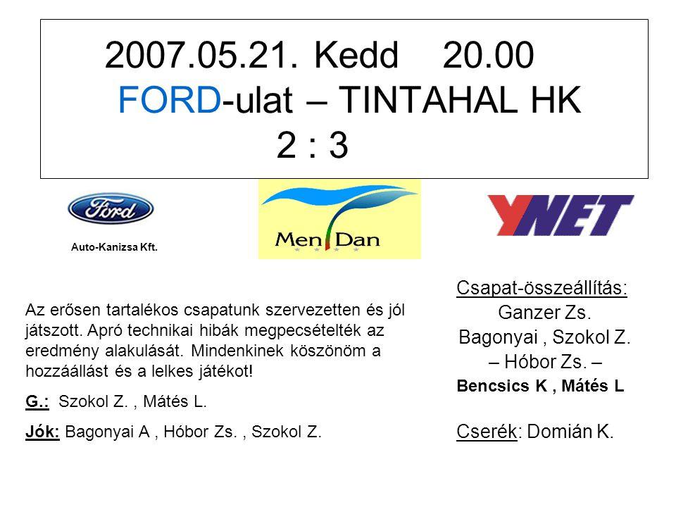2007.05.24.Csütörtök 20.00 FORD-ulat – Kispálya FC 2 : 2 Csapat-összeállítás: Ganzer Zs.