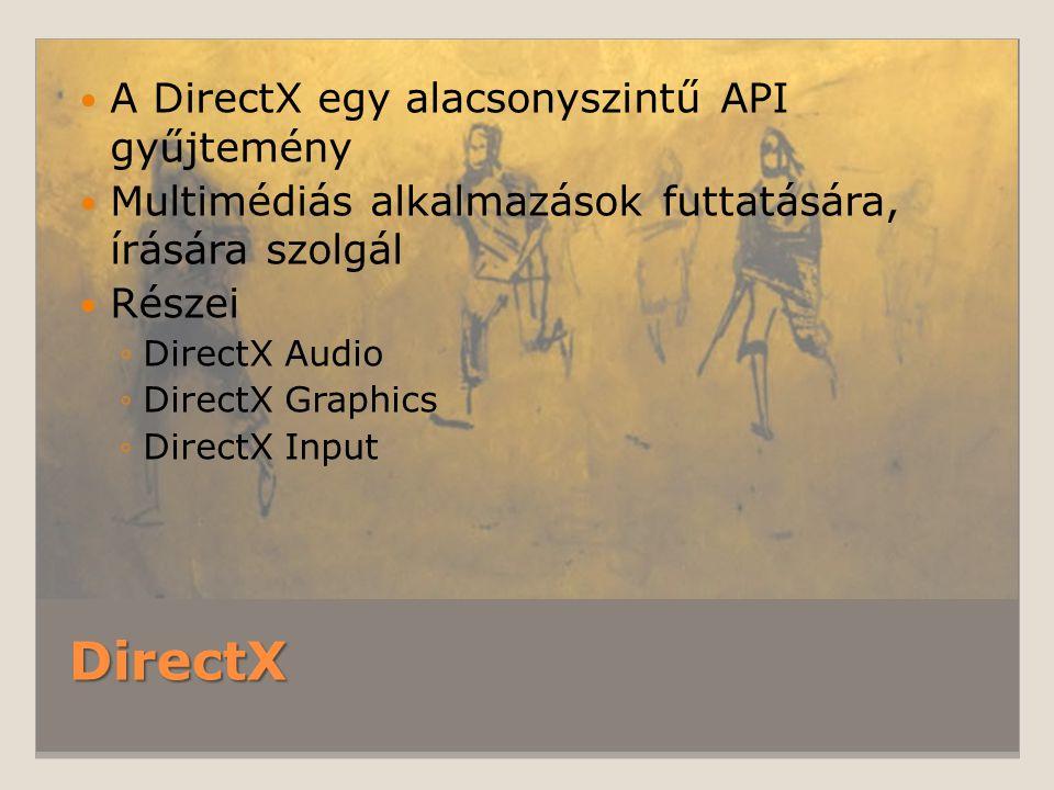 DirectX A DirectX egy alacsonyszintű API gyűjtemény Multimédiás alkalmazások futtatására, írására szolgál Részei ◦DirectX Audio ◦DirectX Graphics ◦Dir