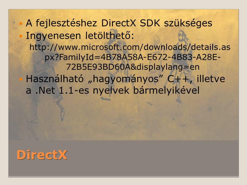 DirectX A fejlesztéshez DirectX SDK szükséges Ingyenesen letölthető: http://www.microsoft.com/downloads/details.as px?FamilyId=4B78A58A-E672-4B83-A28E