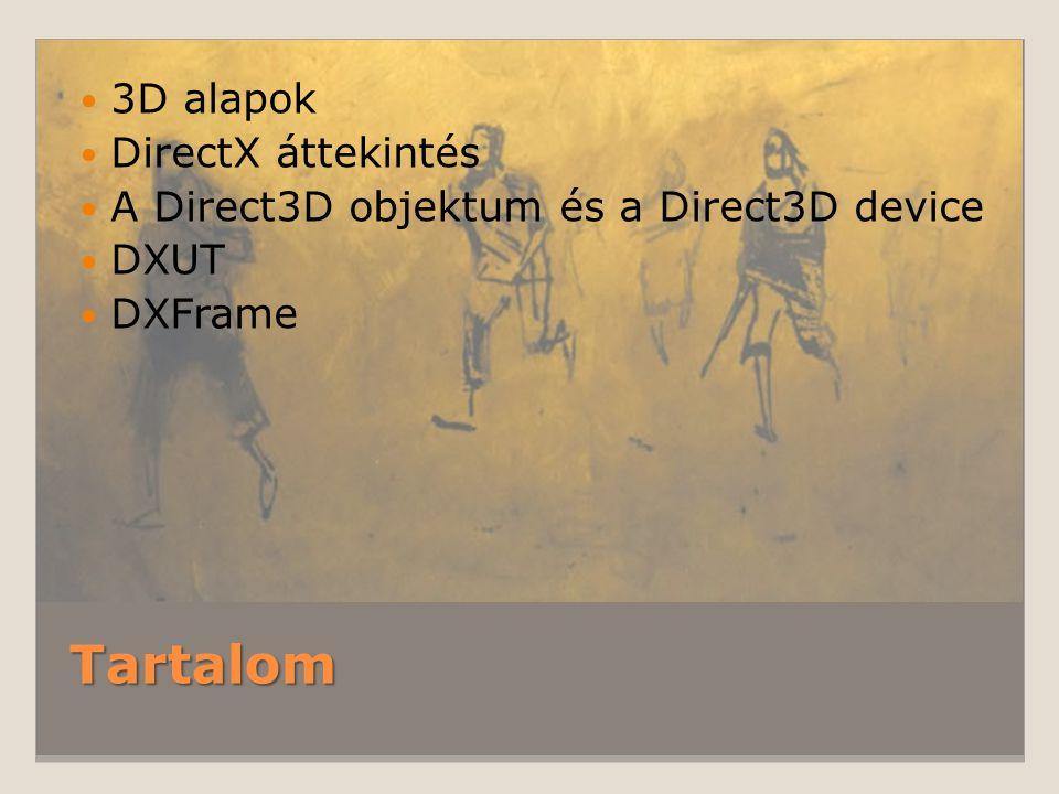 Tartalom 3D alapok DirectX áttekintés A Direct3D objektum és a Direct3D device DXUT DXFrame