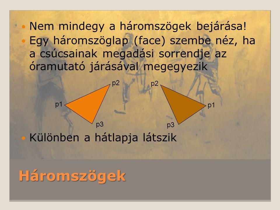 Háromszögek Nem mindegy a háromszögek bejárása! Egy háromszöglap (face) szembe néz, ha a csúcsainak megadási sorrendje az óramutató járásával megegyez