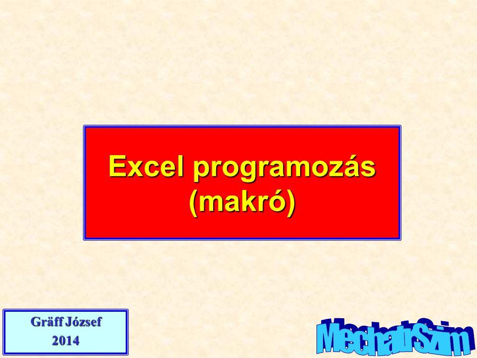 Excel programozás (makró) Gräff József 2014