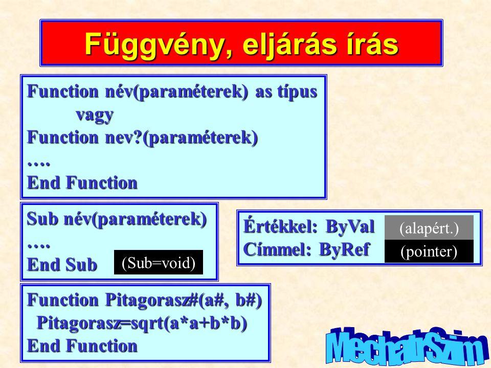 Függvény, eljárás írás Function név(paraméterek) as típus vagy Function nev?(paraméterek) …. End Function Sub név(paraméterek) …. End Sub (Sub=void) É